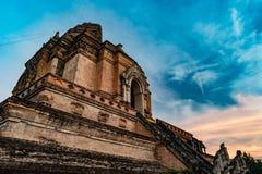 Ancient Pagoda build from brick at Wat Chedi Luang in Chiang Mai Thailand Royalty Free Stock Photography