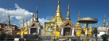 Ancient pagoda covered with gold. Wat Phra Borom royalty free stock image