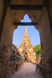 Ancient pagoda from the door frame Stock Photos
