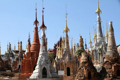 Ancient pagoda in Indein. Ancient Stupas at Indein, Inle Lake, Myanmar Stock Images