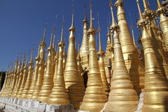 Ancient pagoda in Indein. Ancient Stupas at Indein, Inle Lake, Myanmar Royalty Free Stock Photos