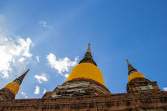Ancient pagoda. This photo are ancient pagoda at Thai temple in Ayutthaya Thailand Stock Images