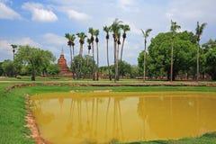 Ancient pagoda and reflection on pond at Sukhothai Royalty Free Stock Photos