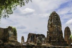 Ancient Pagoda & Ruins in Ayutthaya, Thailand. Old Beautiful Thai Temple wat Mahathat, Ayutthaya Historical Park, Ayutthaya, Thailand Royalty Free Stock Photos
