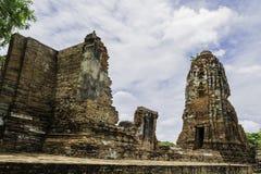 Ancient Pagoda & Ruins in Ayutthaya, Thailand. Old Beautiful Thai Temple wat Mahathat, Ayutthaya Historical Park, Ayutthaya, Thailand Royalty Free Stock Photography