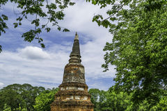 Ancient Pagoda & Ruins in Ayutthaya, Thailand. Old Beautiful Thai Temple wat Mahathat, Ayutthaya Historical Park, Ayutthaya, Thailand Royalty Free Stock Images