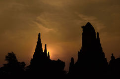 Ancient pagoda silhouette Stock Photography