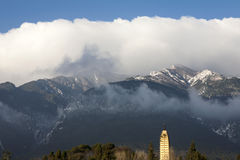 Ancient Pagoda and Snowy Mountains Royalty Free Stock Photography