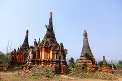 Indein in Myanmar. The ancient Pagoda stood on Shwe Indein, Inle Lake, Myanmar Royalty Free Stock Photos