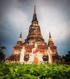 Ancient pagoda at the temple in Thailand Stock Photo