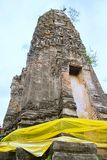 Ancient pagoda in Thai buddhist temple stock photo