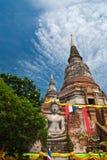 Ancient pagoda  thailand. Ancient pagoda and buddha statue in thailand Royalty Free Stock Photo