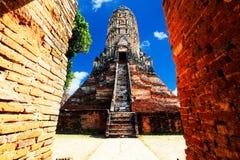 Ancient pagoda at Wat Chaiwattanaram in Ayutthaya province, Thai. Land Royalty Free Stock Images