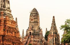 Ancient pagoda at Wat Chaiwatthanaram temple in Ayuthaya Historical Park, Thailand. royalty free stock images