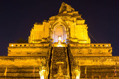 Ancient pagoda at Wat Chedi Luang temple 700 years in Chiang Mai, Asia Thailand, They are public domain or treasure of Buddhism, n Stock Photography
