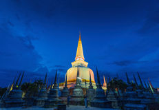 Ancient Pagoda in Wat Mahathat temple, night scene,Nakhon Si Thammarat ,Southern of Thailand Stock Images