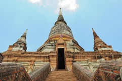 Ancient pagoda at Wat Yai Chaimongkol Royalty Free Stock Images