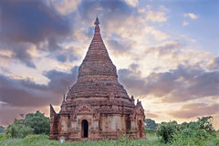 Ancient pagodai n the landscape from Bagan in Myanmar at sunrise Royalty Free Stock Photo