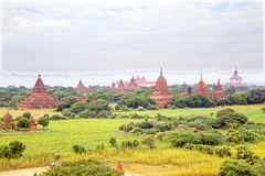 Ancient pagodas in the countryside from Bagan Myanmar Royalty Free Stock Photos