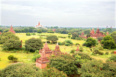 Ancient pagodas in the countryside from Bagan Myanmar Royalty Free Stock Images