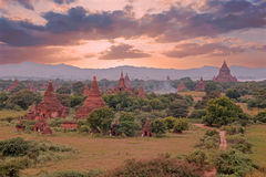 Ancient pagodas in the countryside from Bagan in Myanmar Stock Photos