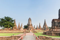 Ancient pagodas of famous temple in historical par. Many ancient pagodas of Chaiwattanaram temple in Ayutthaya historical park Royalty Free Stock Photography