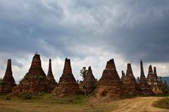 Ancient pagodas in Samkar on Inle lake, Shan state, Myanmar Stock Photos