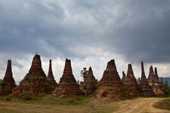 Ancient pagodas in Sangkar, Myanmar Stock Photos