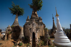 Ancient Pagodas of  temple near Inle lake . Stock Image