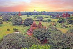 Ancient pagodes in the countryside from Bagan in Myanmar, Asia Royalty Free Stock Image
