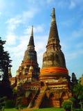 Ancient pagoga in ruined old temple at Ayutthaya Thsiland Stock Photo