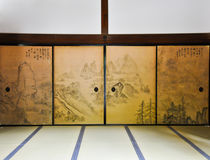 Ancient Painted door at Ryoanji Temple Stock Image