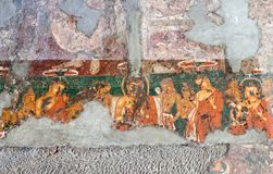 Ancient painted fresco in Ajanta caves, India Royalty Free Stock Photo