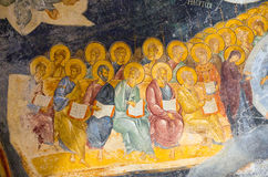 Ancient painted fresco in the Church of the Holy Saviour in Chor Royalty Free Stock Image
