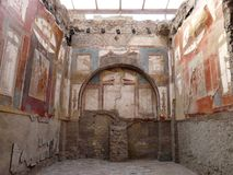 Ancient painted wall fresco at the ancient Roman c Royalty Free Stock Photo