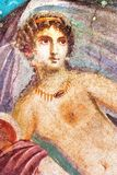 Ancient painted wall fresco of Venus at the ancient Roman city of Pompeii. Ancient painted fresco wall of Venus, detail of Venere in Conchiglia fresco at the royalty free stock photos