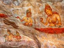 Ancient Painting on the Rock. Sigiriya, Polonnaruwa, Sri Lanka Royalty Free Stock Images