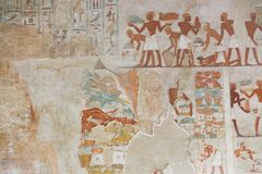 Ancient painting on wall at Egyptian Graves Royalty Free Stock Images