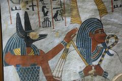 Ancient painting on wall at Egyptian Graves royalty free stock photo