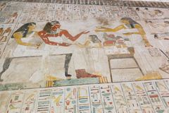 Ancient painting on wall at Egyptian Graves Stock Photo