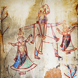 Ancient paintings in an abandoned provincial temple. India Royalty Free Stock Photography