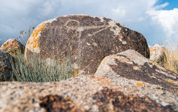 Ancient paintings, petroglyphs on the rocks near the Issyk-Kul, Stock Images