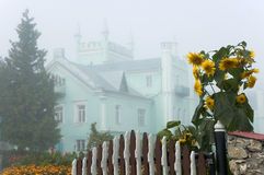 Ancient palace in the fog Stock Photography