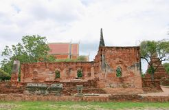 The ancient palace walls and stupa at Wat Phra Si Sanphet, archaeological sites and artifacts. Stock Photography