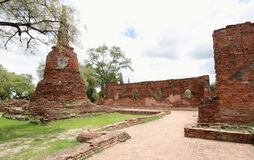 The ancient palace walls and stupas at Wat Phra Si Sanphet, archaeological sites and artifacts. AYUTTHAYA-THAILAND: 9 August 2015,The ancient palace walls and royalty free stock photos