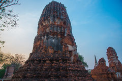 Ancient palaces against the evening sky. Ayutthaya Thailand. Royalty Free Stock Image