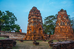 Ancient palaces against the evening sky. Ayutthaya Thailand. Royalty Free Stock Photo