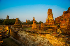 Ancient palaces on the background of blue sky. Ayutthaya Thailand. Royalty Free Stock Images