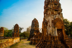 Ancient palaces on the background of blue sky. Ayutthaya Thailand. Royalty Free Stock Photos
