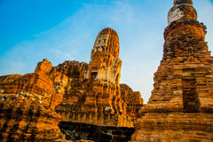 Ancient palaces on the background of blue sky. Ayutthaya Thailand. Stock Photography